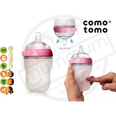 Comotomo Single 250ml/8oz Pink Simulate Breast Bottle