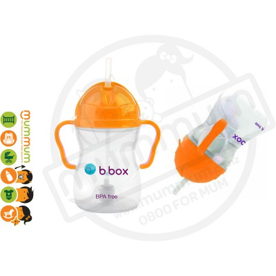 bbox Sippy Cup Orange Zing Weighted Straw 6m+