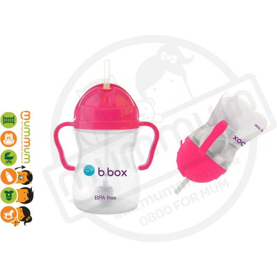 bbox Sippy Cup Pink Pomegrante Weighted Straw 6m+