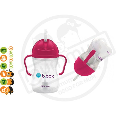 bbox sippy cup raspberry weighted straw 6 month +