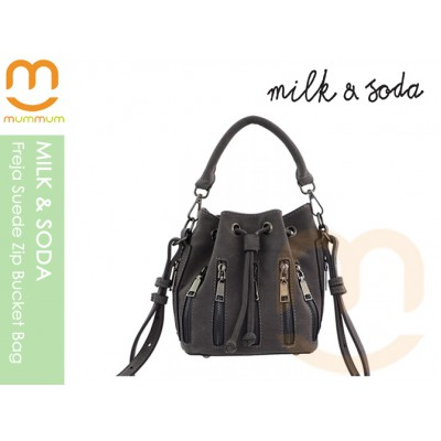 Milk & Soda Frejz Suede Zip Bucket Bag Slate
