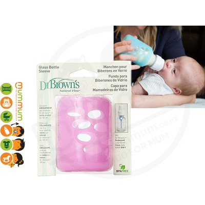 Dr.Brown Glass Bottle Sleeve 125ml Pink Protect Bottle