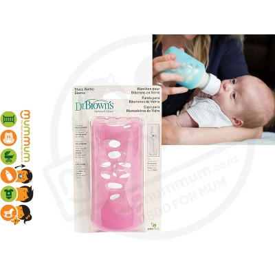 Dr.Brown 8oz 250ml Silicone Bottle Sleeve Pink For Glass Bottle