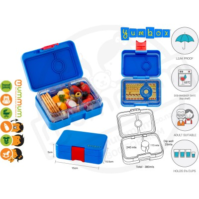 Yumbox Snack Box Blue 3 - Compartment Food Tray