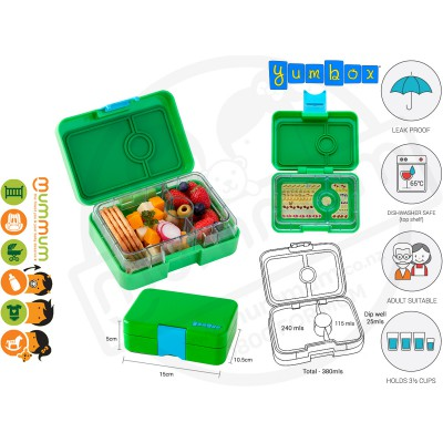 Yumbox Snack Box Green 3 - Compartment Food Tray