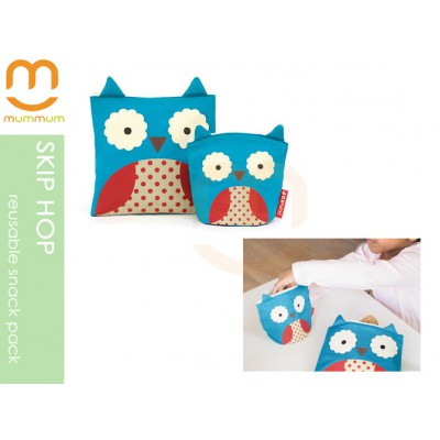 Skip Hop Zoo Reusable Sandwich & Snack Bag Set - Owl
