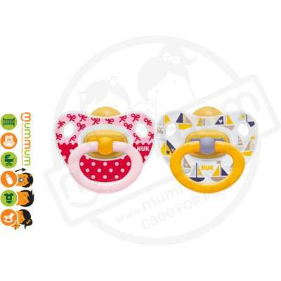 Nuk Classic Latex Soother 6-18mth Yellow Pink 2pk