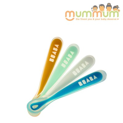 Beaba Silicone Ergonomic 1st Age Feeding Spoon 4 pack Orange/mint/white/blue