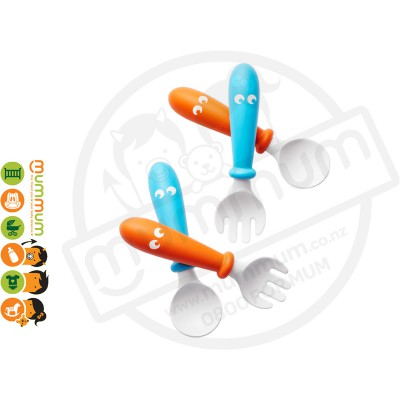 BabyBjorn Spoon and Fork Turquoise/Orange 4pack