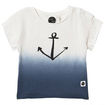 Sproet & Sprout White and Blue Ombre Anchor Print T-Shirt