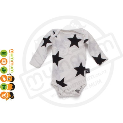 Nununu Star Long Sleeved Onesie White