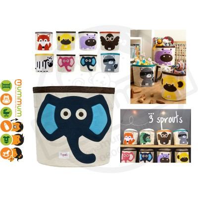 3 Sprouts Cute Animal Toy Storage Bin Navy Elephant