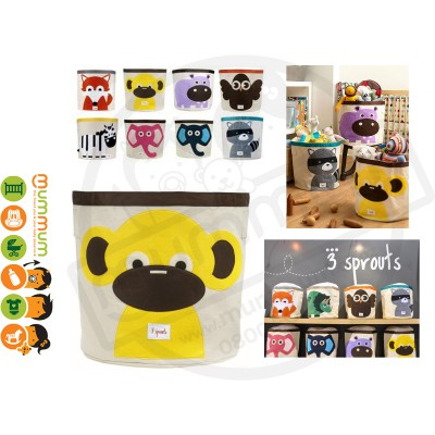 3 Sprouts Cute Animal Toy Storage Bin Yellow Monkey