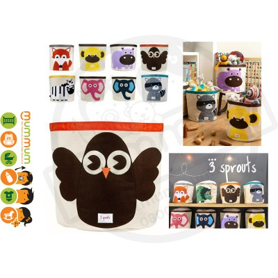 3 Sprouts Cute Animal Toy Storage Bin Brown Owl