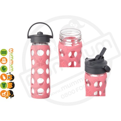 Lifefactory Glass Straw Bottle 16OZ Coral