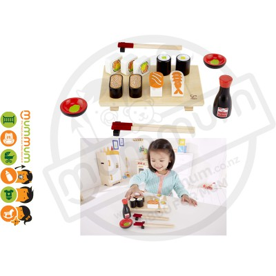 Hape Kids Pretend Play Wooden Fun Yummy Sushi Set