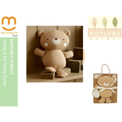 Natures Purest Teddy & Ele Teddy Rattle Organic 0+