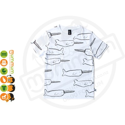 Minti Narwhal Cotton Tee White