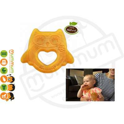 Haakaa Rubber Owl Teether Happy Day Natural Butter Teether Ring
