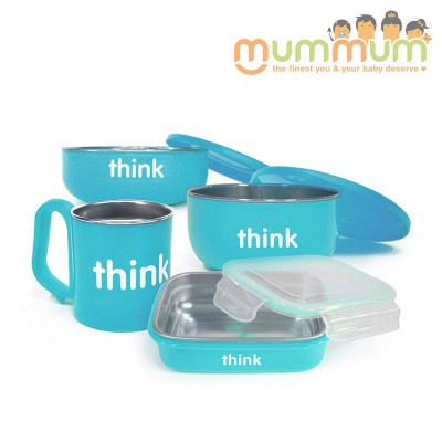 Thinkbaby Set Light Blue Stainless Steel Feeding Set