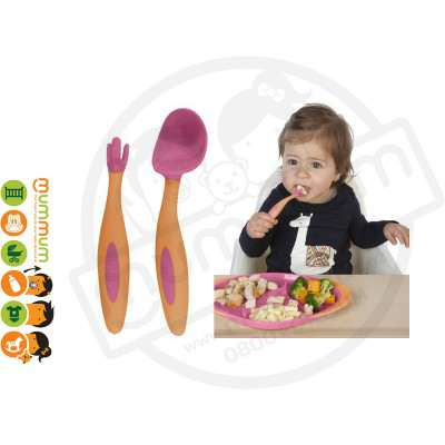 Bbox Toddler Cutlery Orange Pink Spoon Fork With Case