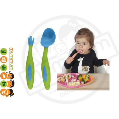 Bbox Toddler Cutlery Ocean Breeze Blue Green Spoon Fork With Case
