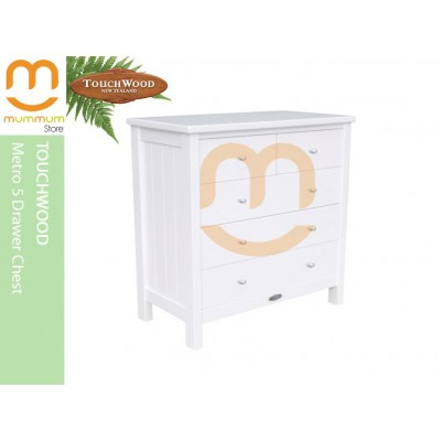 Touchwood Metro 5 Drawer Chest White