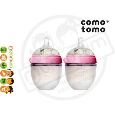 Comotomo Baby Bottle Twin Pack 150ml/5oz Pink