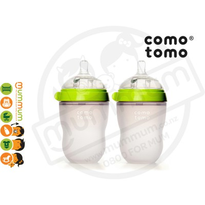 Comotomo Twin 250ml/8oz Green Simulate Breast Bottle
