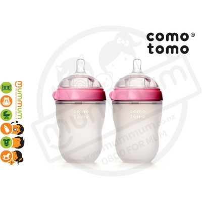 Comotomo Twin 250ml/8oz Pink Simulate Breast Bottle