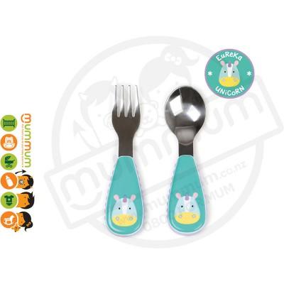 Skip Hop Zoo Utensil Set Unicorn 12m+ Stainless Steel Toddler Fork Spoon