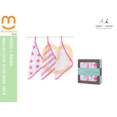 Aden & Anais Washcloth/Face cloth 3pack - Fluro Pink