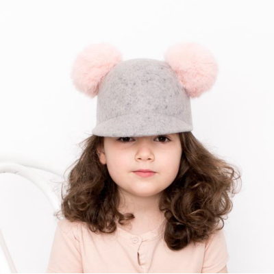 BILLY LOVES AUDREY Wool Felt Cap Hat with Pink Pom Pom Grey Size M 52cm