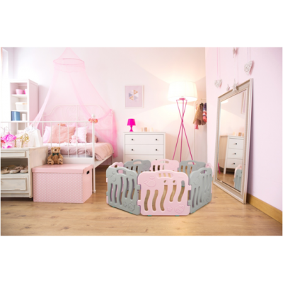 iFam Playpen SHELL Baby Room Grey Pink With Door (10Panels) L2.1x W1.3XH60