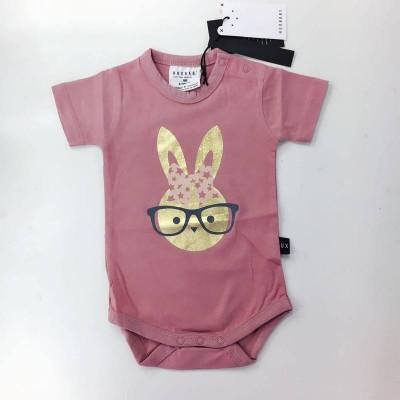 Huxbaby Gold Bunny Onesie plum 0m-18m