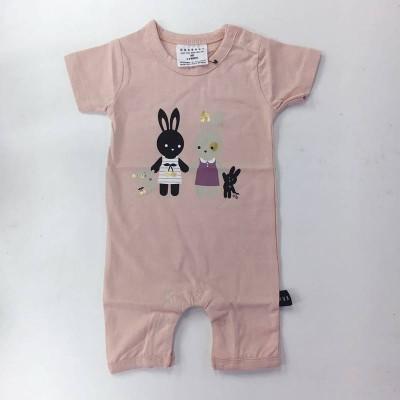 Huxbaby Bunny Short Romper - Tea Rose 0-18m