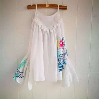 Catimini Dress White Blue Flower 2A