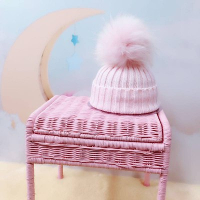 Amelia Jane London Pink Hat with Pink Fur Pom Pom Kids Single Pom Pom