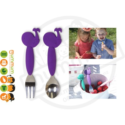 Marcus & Marcus Kid's Spoon And Fork Set Whale Purple