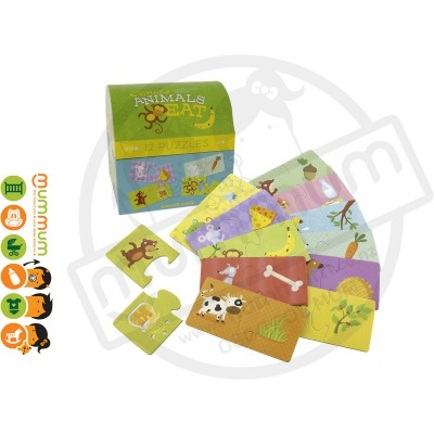 Crocodile Creek 2pc Puzzle Set 12 What Animals Eat