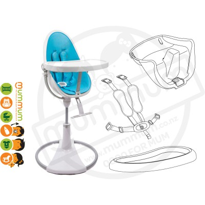 Bloom Fresco Chrome Highchair White Frame with Blue Seat Pad