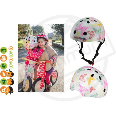 Kiddimoto Adjustable White Butterfly Helmet
