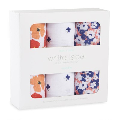 Aden and Anais Muslin Wrap Flora 3pk White label Boutique Exclusive