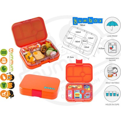 Yumbox Papaya Orange 6-compartment food tray
