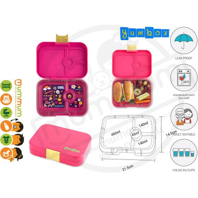 Yumbox 4 Panino Kawii Pink Best Lunch Box Non Spill