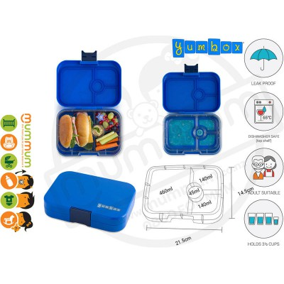 Yumbox 4 Panino Neptune Blue Best Lunch Box Non Spill