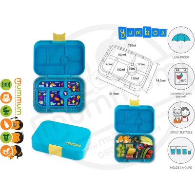 Yumbox 6 Original Kai Blue Best Lunch Box Non Spill