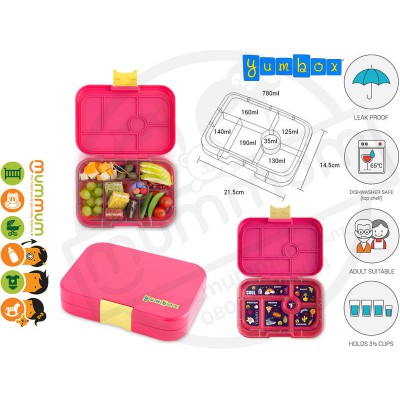 Yumbox 6 Original Kawii Pink Best Lunch Box Non Spill