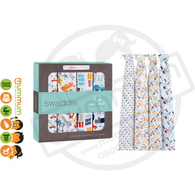 Aden and Anais Muslin Wraps/Swaddles, Zutano Pup In Tow, 4pack